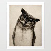 owls Art Prints featuring Owl Sketch by Isaiah K. Stephens