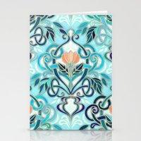 Ocean Aqua Art Nouveau Pattern with Peach Flowers Stationery Cards