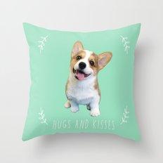 Geordi the corgi, hug and kiss Throw Pillow