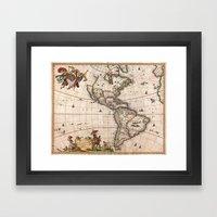 1658 Visscher Map Of Nor… Framed Art Print