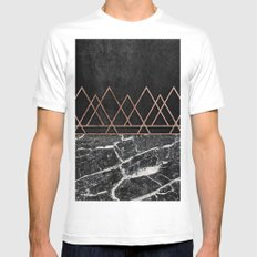 Elegant Rose Gold Triangles & Black & White Marble Mens Fitted Tee White SMALL