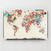 world map watercolor deux iPad Case