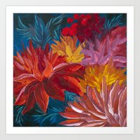 Fiery Dahlia Blossoms Art Print
