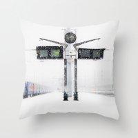 blizzard in Paris Throw Pillow