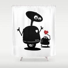 Robot Heart to Heart Shower Curtain