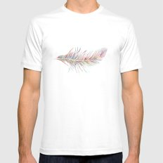 Rainbow Feather  White SMALL Mens Fitted Tee