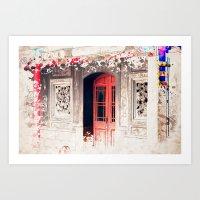 Door At Longshan Temple Art Print