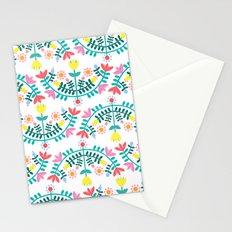 Folk Flowers White Stationery Cards