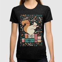 Merry Little Squirrel  Womens Fitted Tee Tri-Black SMALL