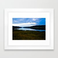 Blue Lake at Dusk Framed Art Print