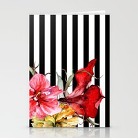 stripes Stationery Cards featuring FLORA BOTANICA | stripes by Cheryl Daniels
