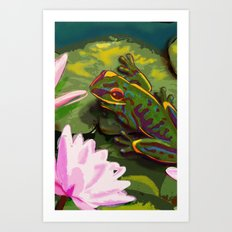 Frog on lily pad Art Print