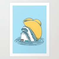 Funny Hat Shark Art Print