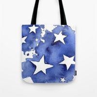 Stars Abstract Blue Watercolor Painting Tote Bag