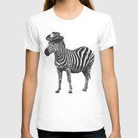Zebra Cowboy Womens Fitted Tee White SMALL