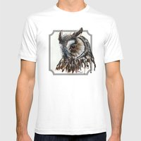 Eagle Owl Mens Fitted Tee White SMALL