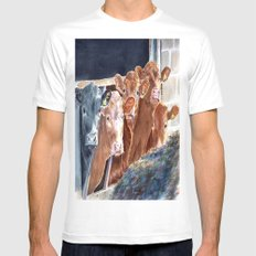 Calves at Brunch SMALL White Mens Fitted Tee