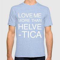 Love Helvetica Mens Fitted Tee Tri-Blue SMALL