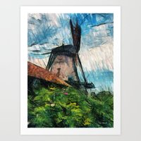 skatching windmill  Art Print
