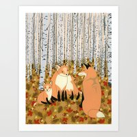 Fox Family In The Autumn… Art Print