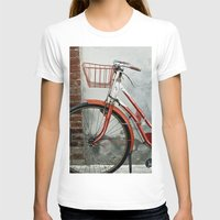 Red bicycle Womens Fitted Tee White SMALL