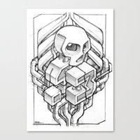 Isometric 13 Skull sketch Canvas Print