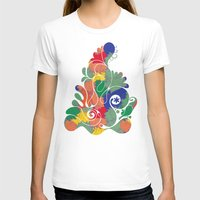 Floral Chaos Womens Fitted Tee White SMALL