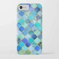 retro iPhone & iPod Cases featuring Cobalt Blue, Aqua & Gold Decorative Moroccan Tile Pattern by micklyn