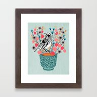 Tea And Flowers - Black … Framed Art Print
