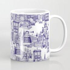 Doctor Who Toile de Jouy | 'Walking Doodle' | Blue Mug