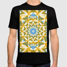 Wheel cover kaleidoscope in blue and gold SMALL Mens Fitted Tee Black