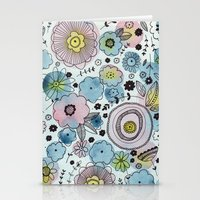 Blue and purple flowers Stationery Cards