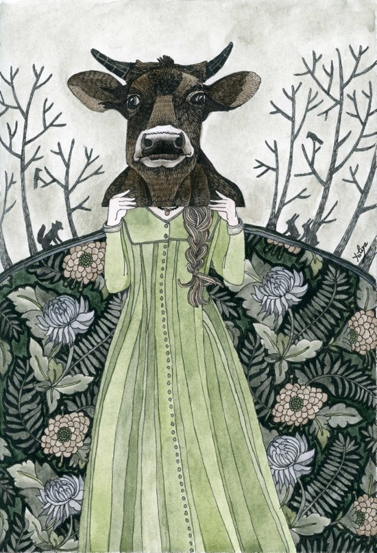 Cow Mask Art Print