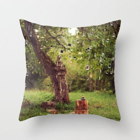 Polaroid Tree Throw Pillow