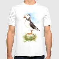 Puffin On A Rock Mens Fitted Tee White SMALL