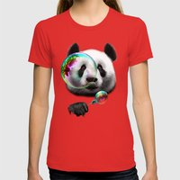 PANDA BUBLEMAKER Womens Fitted Tee Red SMALL