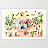 Airstream Christmas Art Print