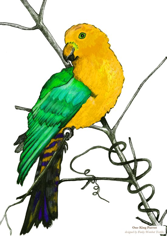 One King Parrot - Yellow Art Print
