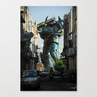 Mech Behind A Back Alley Canvas Print