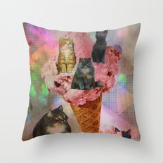 The cat's that got the cream! Throw Pillow