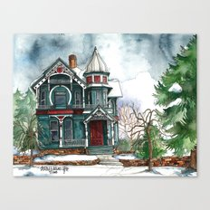Blue House On A Grey Day Canvas Print