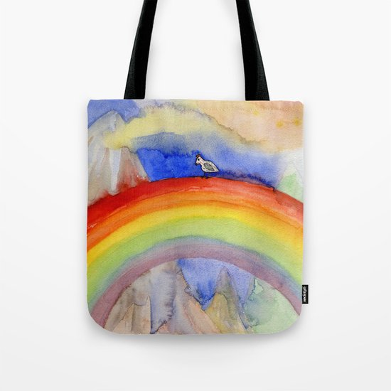 the chicken who wanted to be on the top of the rainbow Tote Bag