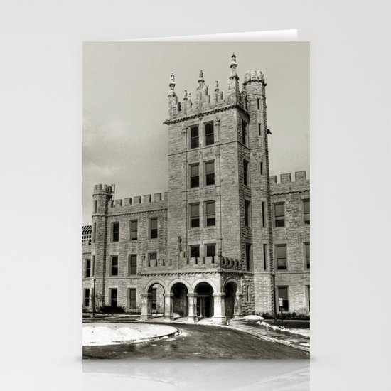 Northern Illinois University Castle - Black and White Stationery Card