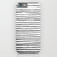 Black Brush Lines on White iPhone 6s Slim Case