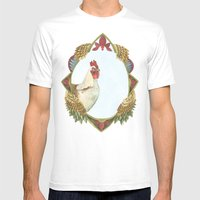 Quilted Forest // Charles the Chicken Mens Fitted Tee White SMALL