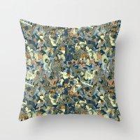 Lucha Pattern(blue&orange) Throw Pillow