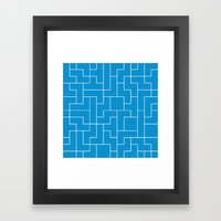White Tetris Pattern on Blue Framed Art Print