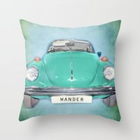 Wander Old Beetle. Green  Vintage Volkswagen Throw Pillow