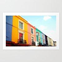 Colourful Houses of Portobello Market Art Print