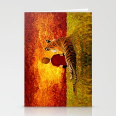 Cute Calvin and the lazy tiger Art painting Stationery Cards